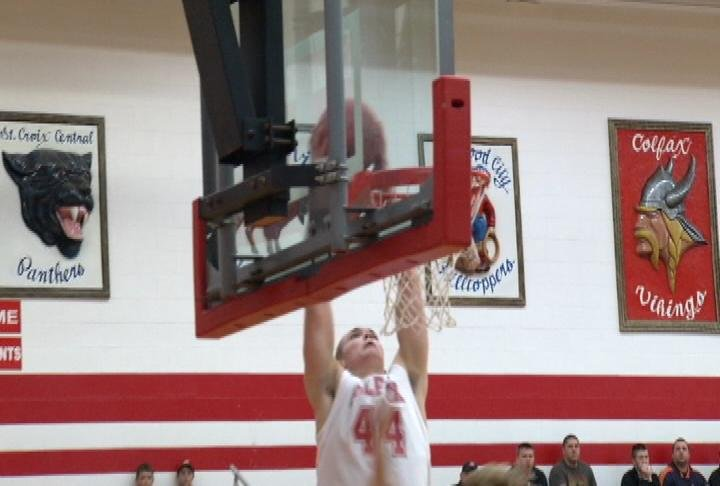 Lane Olson of Colfax throws one down in a win over Boyceville