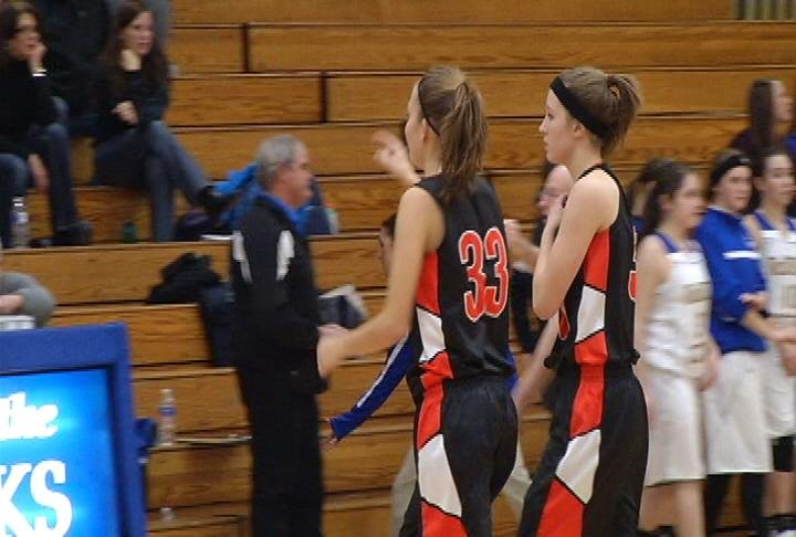 Elk Mound's Josie Hayes (#33) goes over the 1,000-point mark in her career as the Mounders defeat McDonell Central