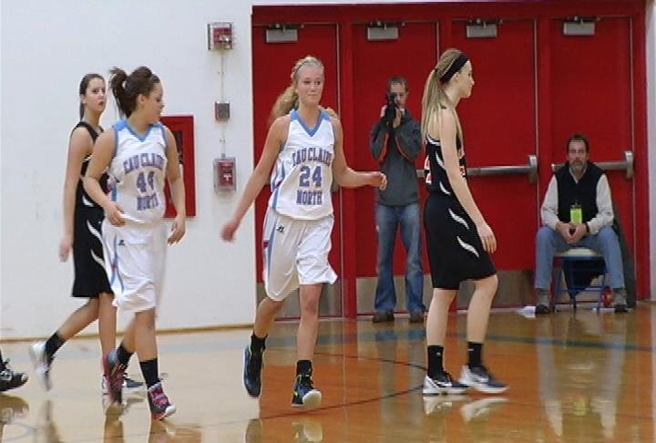 Briquelle Neyens (#24) hits a 1st quarter buzzer-beater but EC North loses to Marshfield