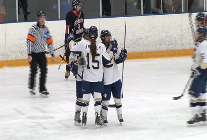 Sam Knutson (#15) scores UWEC's lone goal in a home loss to Lake Forest