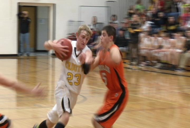 Austin Poehls takes it to the hoop as Cadott defeats Stanley-Boyd