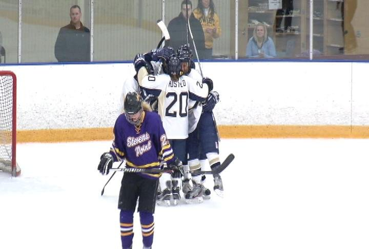 UWEC celebrates a Sam Knutson goal