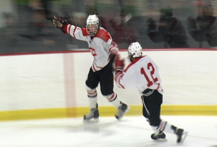 Drew Steinmetz celebrates his 1st period goal