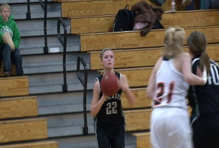 Hannah Buchholz hits a three for Fall Creek