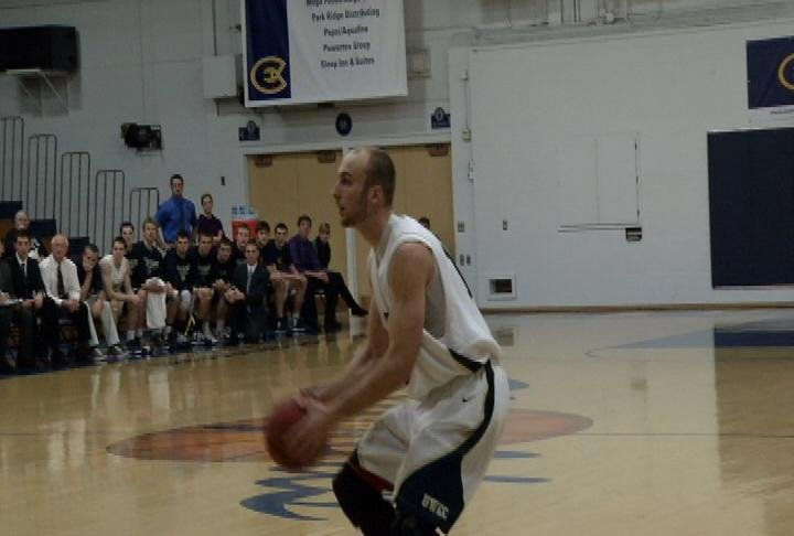 UWEC's Nick Craggs gets set to launch a 3 as the Blugolds beat UWO