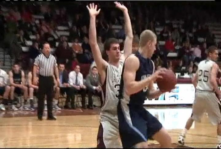 UW-Stout's Josh Kosloske takes it into the lane for 2 but the Blue Devils lose at UW-La Crosse