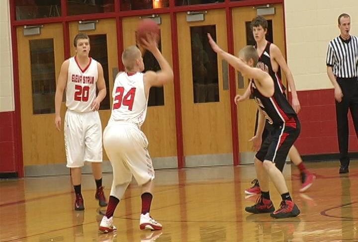 Eleva-Strum's Abram Pedersen lines up a 3 in the Cardinals' defeat Lincoln