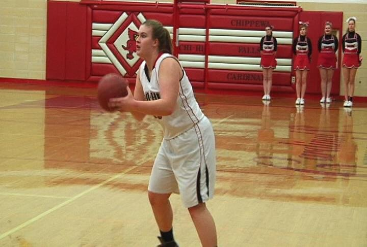 Chi-Hi's Kayla Hanley lines up a 3-pointer as the Cardinals cruise past Menomonie