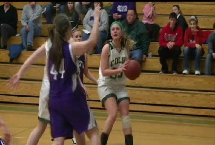 Colby's Taylor Lynn goes up for 2 of her game-high 13 points in a win over Augusta