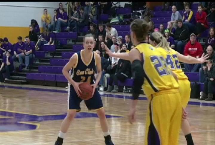 UWEC's Sarah Bingea looks to dish the ball in the Blugolds' loss at UWSP