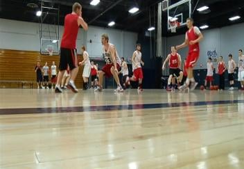 The Elmwood Raiders on the floor at UW-Stout's Johnson Fieldhouse