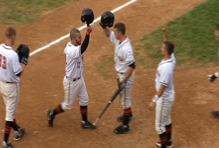 Eau Claire celebrates a Tim Zier home run