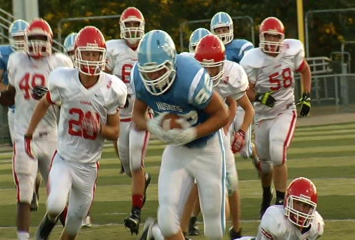 North's Anthony Miloszewicz lunges for the goal line
