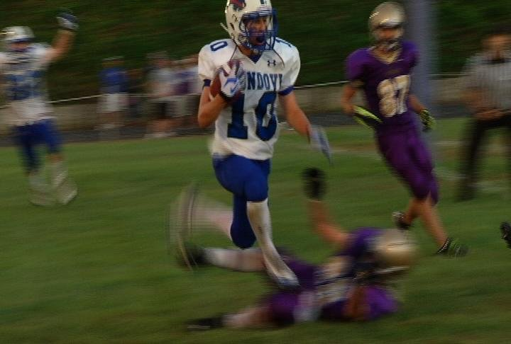 Mondovi's Mitch Stamm catches a tipped ball for a momentum-changing TD