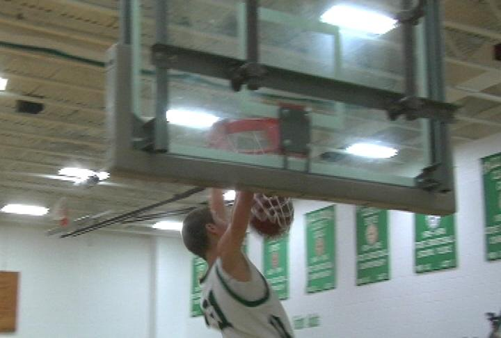 Fall Creek's Matt Anderson throws one down as the Crickets defeat Eleva-Strum