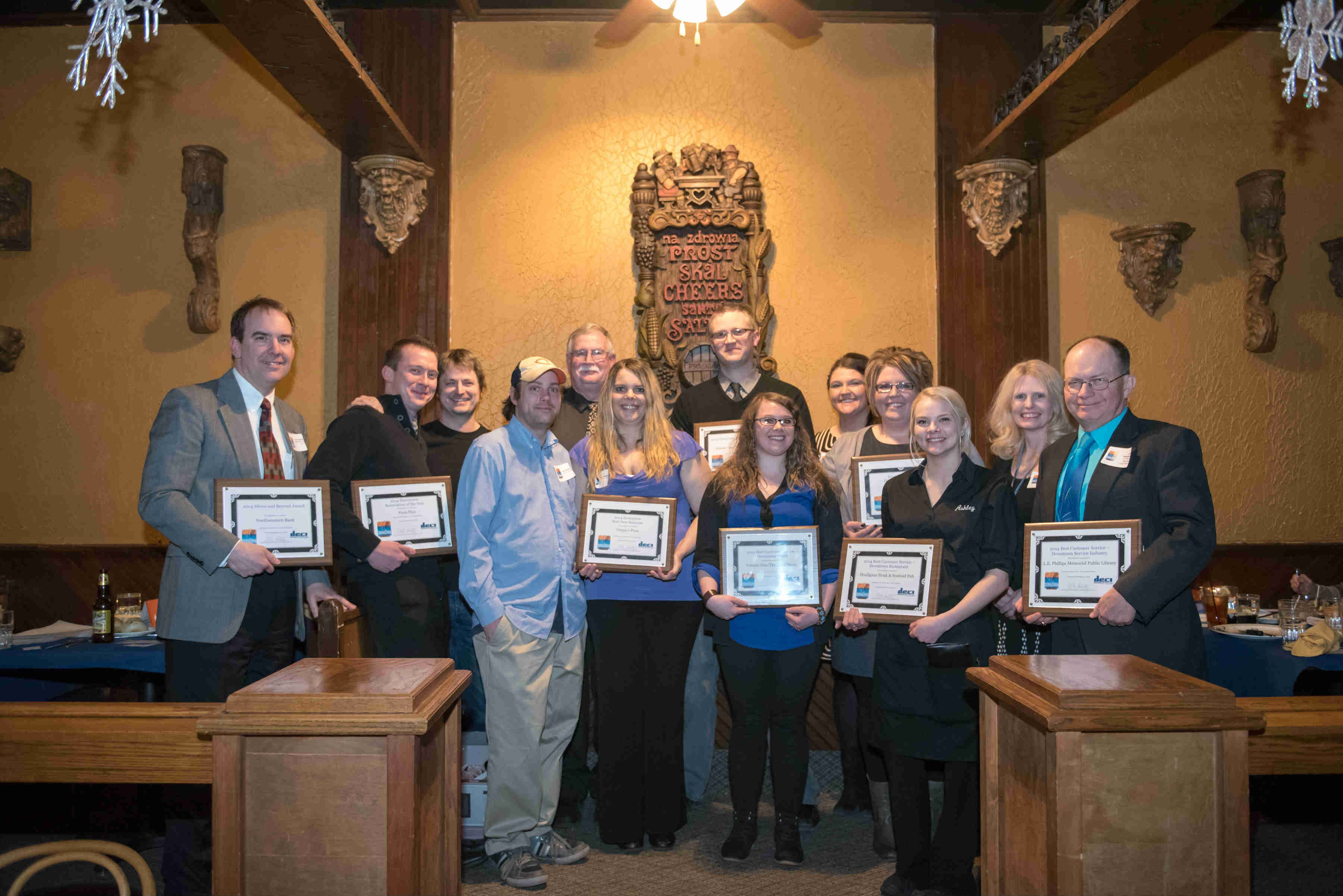 The 13 winners were announced at the Downtown Eau Claire Annual Awards Banquet Wednesday night.