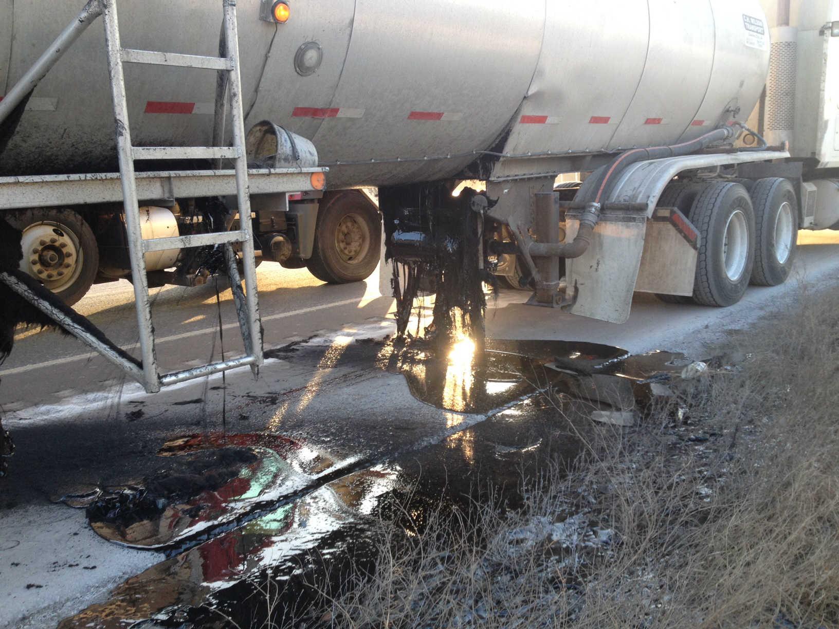 Asphalt mix leaked out of a tanker Friday morning on I-94 near Black River Falls.