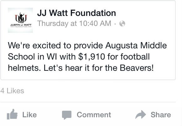 JJ Watt donated $1,910 to Augusta Middle School for football helmets, according to a Facebook post from the foundation last week.