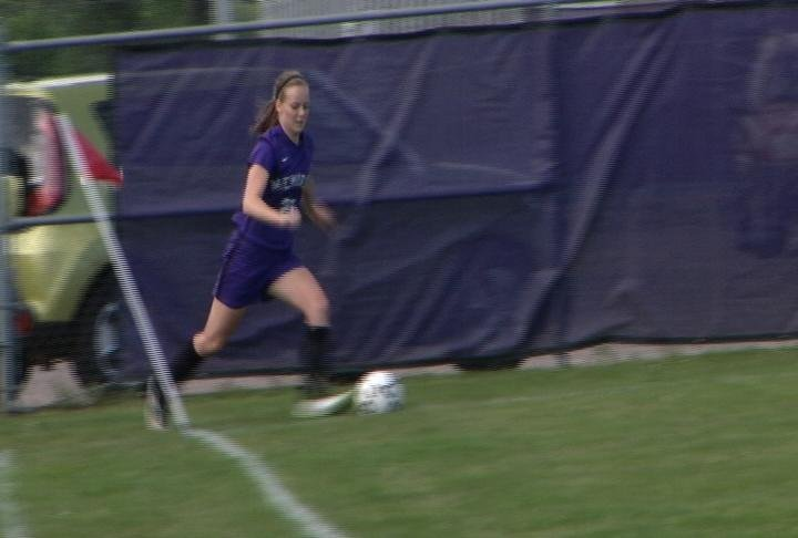 Kaci Gorres boots in a goal in an Abes blowout win
