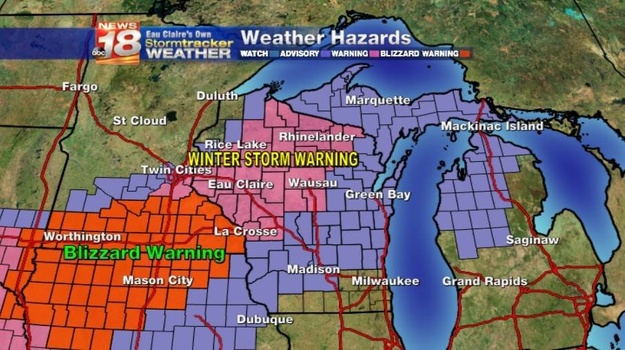 WARNING Dangerous travel conditions expected in the Eau Claire – Wisconsin Travel Conditions Map