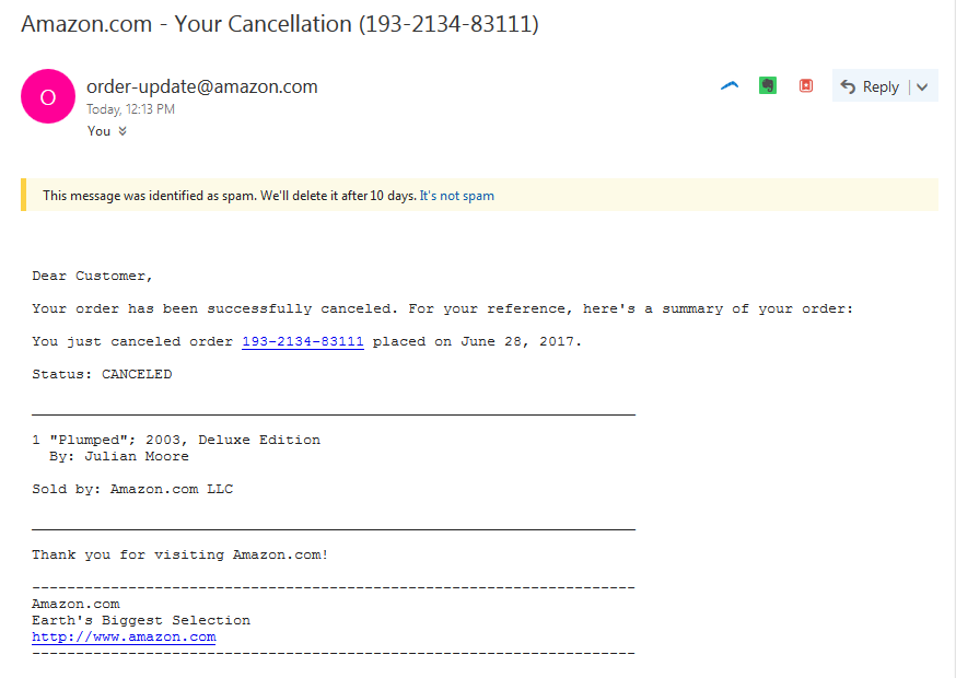 Fake Amazon.com order cancellation emails making the ...