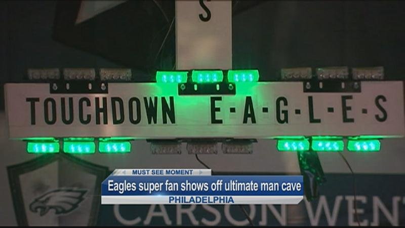 Ultimate Man Cave Show : Must see: eagles super fan shows off ultimate man cave wqow tv
