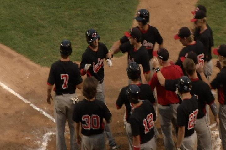 Eau Claire celebrates Adam LaRock's 2nd inning grand slam